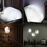 Geediar Libro Lampada Luce LED Pieghevole in Forma di libro con 2500 mAh batteria litio Lampada da Comodino Luce Notturna luci Decorative Lampade d' atmosfera Bianco