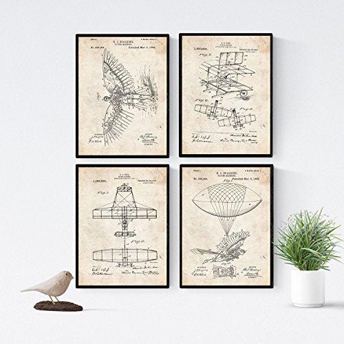 Nacnic Vintage - Pack 4 Láminas Patentes Aviones