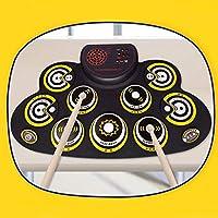 Electronic Drum - Juego de 9 almohadillas de batería incorporadas con doble altavoz con función de grabación/Bluetooth para auriculares de pedales, para niños principiantes (color amarillo) (color: