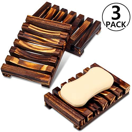 PAMIYO Seifenschale Holz Dusche 3 Stück, Seifenhalter Handarbeit Seifenschale für Küche,Natürliche Bambus Seifenkiste,Bad Waschbecken Deck Seifenhalterung -