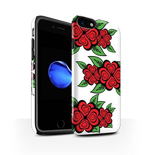 STUFF4 Glanz Harten Stoßfest Hülle / Case für Apple iPhone 8 / Weiß/Türkis Muster / Liebe Herz Rosen Kollektion Weiß/Rot