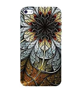FUSON Steel Flower Black Background 3D Hard Polycarbonate Designer Back Case Cover for Apple iPhone 4S