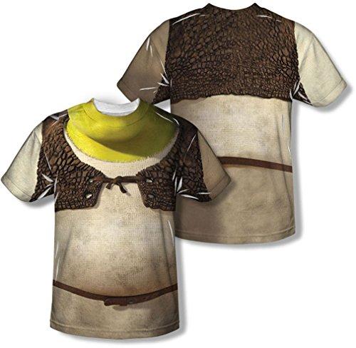 Shrek - Herren-Kostüm (vorne / hinten Print) T-Shirt, XXX-Large, White