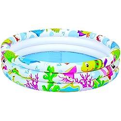 XXL Buntes dreireihiges aufblasbares Kinderplanschbecken/Kinder Pool (138,5 Liter) inkl. Reparatur-Kit