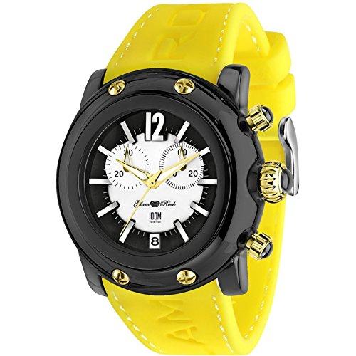 Glam Rock Unisex Miami Beach 46mm Yellow Silicone Band Polycarbonate Case Quartz Black Dial Watch GR25142