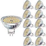 10er MR16 LED Warmweiß 12V GU5.3 5W Ersatz für 35W Halogen Lampen GU5.3 2800K 400 Lumen Birne Leuchtmittel 120°Abstrahwinkel Spot Nicht Dimmbar Ø50 x 48 mm