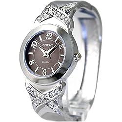 Neue glänzende silberne Band-runde PNP glänzende silberne Uhrgehäuse-Frauen-Armband-Uhr