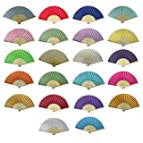 Rangebow Wholesale Pack of 10 Mix Colours Silk Fabric Hand Fans Ideal Wedding Favour Party Favor