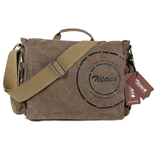 Zicac Umhängetaschen Herren Canvas Schultertasche Messenger Bag für Men Aktentasche Tasche (brown)