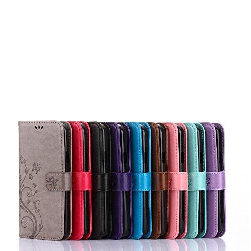 YHUISEN LG K10 2017 Koffer, geprägt Schmetterling Blumen Design PU Leder Flip Wallet Stand Case für LG K10 2017 / K20 Plus / LV5 ( Color : Blue ) Pink