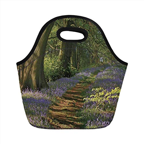 Portable Bento Lunch Bag,Woodland Decor,A Carpet of Bluebells Spreads Through The Woodland in Staffordshire England,Green Purple Brown,for Kids Adult Thermal Insulated Tote Bags