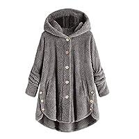 TIMEMEAN Faux Fleece Jacket Teddy Bear Coats for Women with Fur Hood Winter Warm Outwear Gray