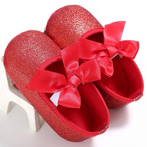 Chaussures de bébé,Transer ® Bébé 0-18 mois fille Bowknot paillettes Crib chaussures souples semelle anti-dérapant Sneakers Rouge