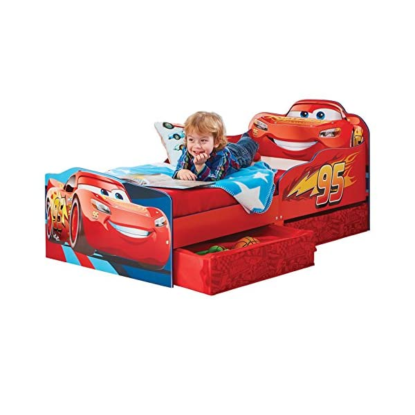 Hello Home Disney Cars Kids Toddler Bed with underbed Storage, Wood, Red, 143x77x63 cm  Perfect for transitioning your little one from cot to first big bed The perfect size for toddlers, low to the ground with protective side guards to keep your little one safe and snug Two handy underbed, fabric storage drawers 2