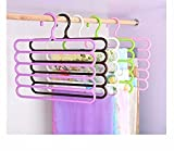 #9: 2 pc S-shape 5 Layers Pants Hangers Holders Wardrobe Storage Rack For Scarf Towels Clothes Jeans Closet Space Saver(Set of 2 assorted colour)
