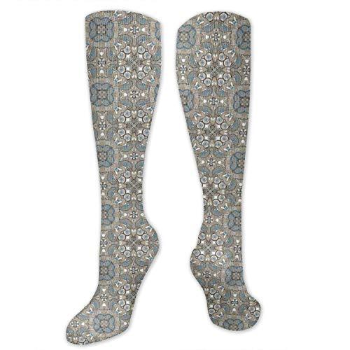 Unisex Highly Elastic Comfortable Knee High Length Tube Socks,Bohemian Inspired Persian Arabesque Flowers Vintage Oriental Timeless Motifs,Compression Socks Boost Stamina,Tan Blue White Arabesque Flower