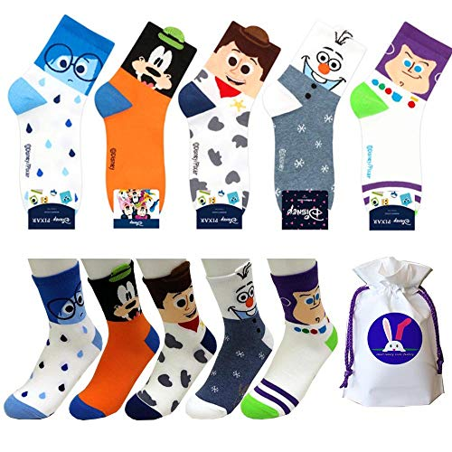 Disney Charakter Mannschafts Socken mit Beutel Packung mit 5 Paaren - Inside Out Meet Sadness, Goofy, Toy Story Woody, Frozen Olaf, Toy Story Buzz Lightyear (Toy Story Paare)