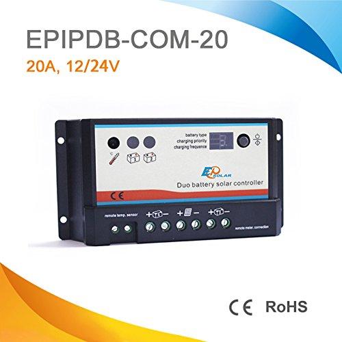 EPEVER® Laderegler für 2 verschiedene Batterie EPIPC-Com 20A 12/24V Duo Option MT1 Display