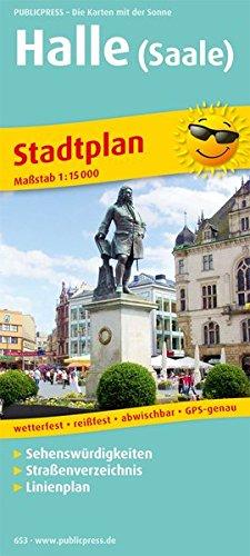 Stadtplan Halle (Saale): mit Sehenswürdigkeiten, Straßenverzeichnis, Linienplan, wetterfest, reissfest, abwischbar, GPS-genau. 1:15000