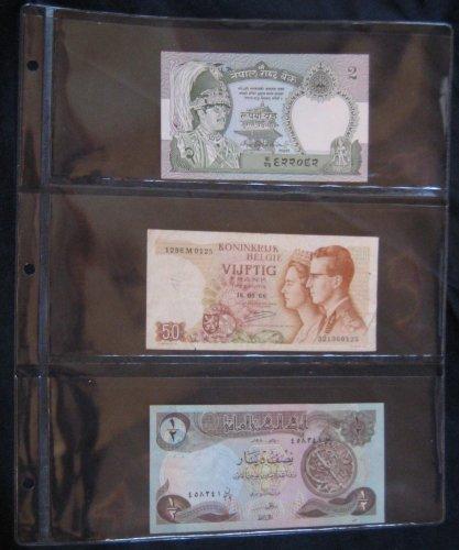 Álbum para billetes con páginas de 3secciones, paquete de 10 unida