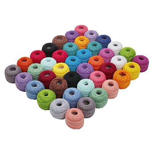 Strickgarn - 42 teiliges Baumwollgarn Set - 74Meter Häkelgarn Stränge Knäuel - Quiltfaden in einem Sortiment an Tiefen Garn Farben - Faden aus Baumwolle für Muster, Projekte und Applikationen - Insgesamt 3108 Meters Strickwolle für Anfänger und Erfahrene Häkler