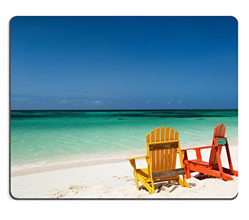 MSD Natural Rubber Mousepad IMAGE ID: 32720770 Colorful yellow and orange lounge chairs at tropical beach in Caribbean with beautiful turquoise ocean water white sand and blue sky