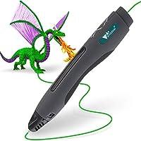 3D Pluma, Amzdeal Pluma de impresión 3D Inteligente Estereoscópica para Diseños con Cable USB y 2 Paquetes de Filamentos, el Regalo Increíble para Los Niños y Adultos (Negro)