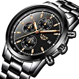 LIGE Relojes Hombre, Acero Inoxidable Impermeable Analógico Cuarzo Relojes Deportes Militar Cronógrafo Calendario Oro Negro Relojes