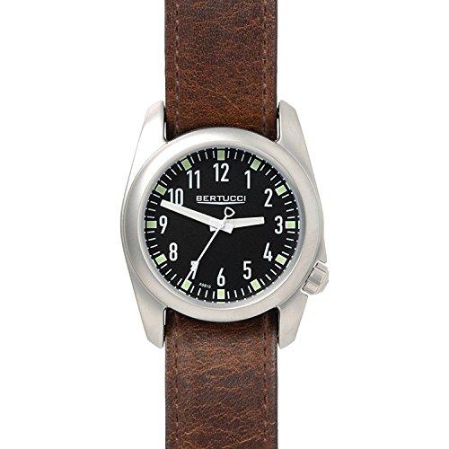 Bertucci 11072marrone nylon Band 40mm in acciaio INOX Ventara orologio da uomo