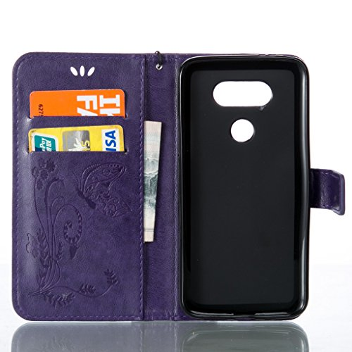 HTC Desire 626Custodia, HTC Desire 626Custodia, con protezione schermo,], nanxi Fiore Farfalla PU Custodia in pelle per HTC Desire 626, HTC Desire 626, Custodia protettiva, Blu profondo, iPhone 5/5S viola