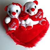 Elite Enterprises Cute Red&White Couple Teddy Sitting On Heart Stuffed Soft Plush With Two Little Heart Soft Toy