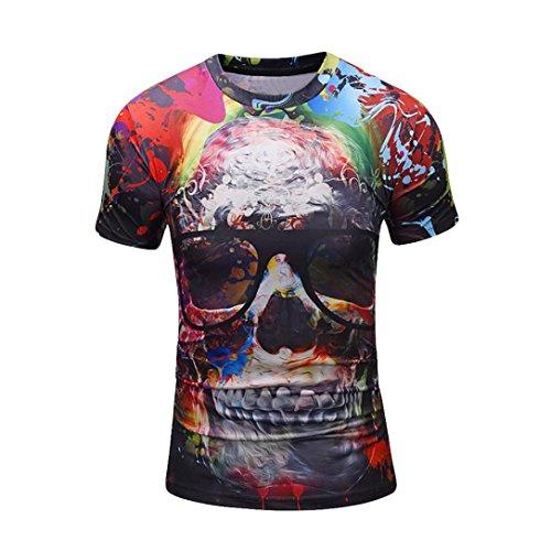Kanpola T-Shirt Herren 3D Bedruckte Schwarz Adler Totenkopf O-Neck Slim Fit Deutschland Ländershirt T-Shirts Shirts Tops