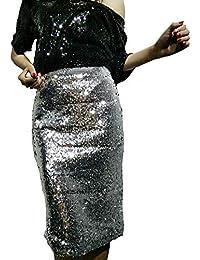 Mujeres De Cintura Alta Falda De Lentejuelas Elegante Lápiz Falda Cintura  Elástica Falda Corta Color Sólido 3125a55142f4