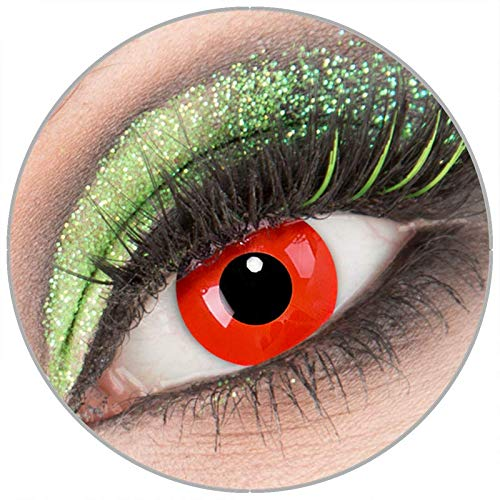 Farbige weiße 'RedDevil' Kontaktlinsen mit Stärke -4,00 1 Paar Crazy Fun Kontaktlinsen mit Behälter zu Fasching Karneval Halloween - Topqualität von 'Giftauge'