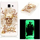 Pour Samsung Galaxy A3 2016 A3100 A310F Coque,Coffeetreehouse [Noctilucent] Coque Etui Silicone Transparente Gel TPU Bumper Anti Poussiere Resistance Anti-rayures Case Cover Couverture Pour Samsung Galaxy A3 2016 A3100 A310F - Skull Rose