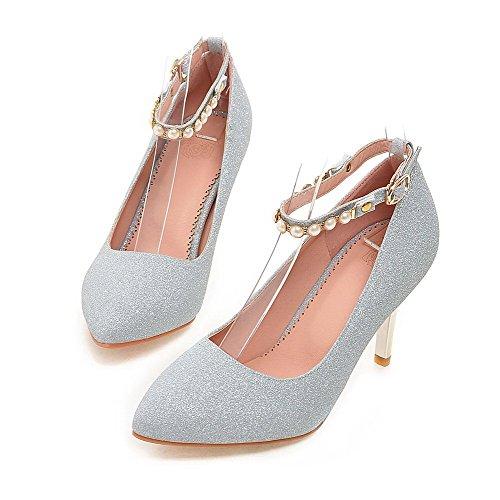 AllhqFashion Damen Eingelegt Pailletten Hoher Absatz Spitz Zehe Schnalle Pumps Schuhe Silber