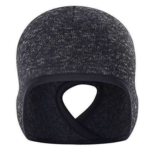 Arcweg berretto termico running donna morbido sottocasco invernale con foro cappello donna inverno addensare proteggere l'orecchio 3 colori carbone nero