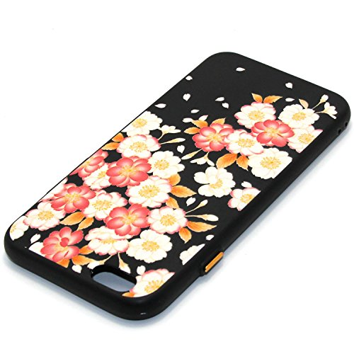 "iPhone 6 Custodia, iPhone 6S Cover Nero, JAWSEU iPhone 6/6S [4.7""] Protezione Case Cassa Gomma Morbida Gel Silicone Custodia per iPhone 6 Cover Protectiva Bumper per iPhone 6S Coperture Flessibile Lis #7 Floreale"