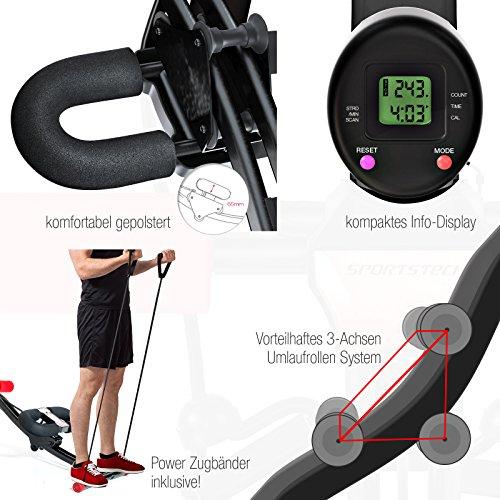 TESTSIEGER Sportstech BT300 Profi Bauchtrainer mit schwenkbarer Knieauflage für seitliche Bauchmuskeln, S-Form Schiene, 25 Einstellmöglichkeiten + Widerstandsbänder inkl. AB Shape Trainer für Sixpack - 7