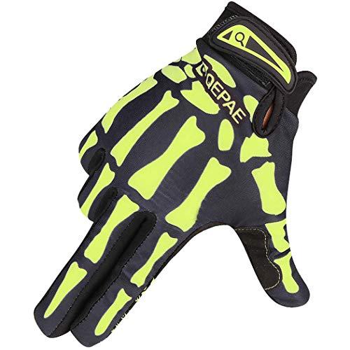 Voll-leder-fahrer-handschuhe (MISS&YG Volle Fingerhandschuhe Fahren warme Handschuhe Sport Sport Sport im Freien Winddichte Langfinger Handschuhe,Green,XL)