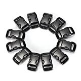 RUOHO 100Pcs Black Paracord Armband Buckles Curved Release Clasp Buckles