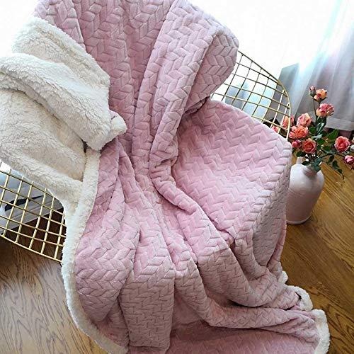 CCMUP Winter Double Layer Dicke Decke Ferret Cashmere Super weiche warme Wolle Decken Flanell Fleece Plaid Werfen auf Schlafsofa weiß ba-3.160x210cm -