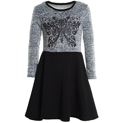 Mädchen Kinder Spitze Winter Kleid Peticoatkleid Festkleid Lang Arm Kostüm 20753, Farbe:Grau;Größe:104