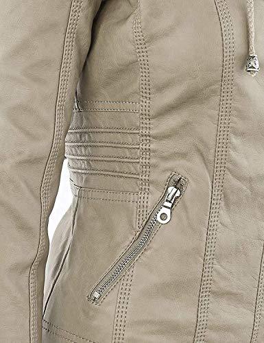 Qingxian Damen Frauen Faux Lederjacke Kurze Reißverschluss mit Kapuze Einfarbig Langarm Kapuzenpullover,Beige,Medium - 6