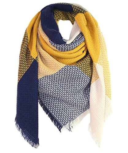SAMGOO Damen Klassisch Plaid Schal Knitting Warm Winter Weich Schlagfarbe Oversized Wrap Schal (3# Gelb/Blau)