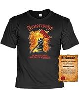 T-Shirt ,Funshirt, Motiv - Sprüche Shirt und Spaßurkunde Geschenke Set, Feuerwehr ist das zu Heiss...