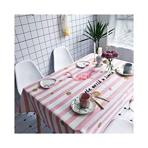 Tablecloth Rechteckige Tischdecke, wasserdichte rosa gestreifte Tischdecke der heißer nordischen Baumwolle, wasserdicht, einfach zu säubern, romantisch, elegant, warmes Haus