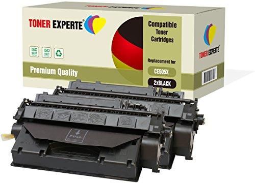 Pack de 2 TONER EXPERTE Compatibles CE505X 05X Cartuchos de Tóner Láser para HP Laserjet P2050 P2053 P2053d P2053n P2054 P2054d P2054n P2055 P2055d P2055dn P2055x P2056 P2056d P2056n P2057 P2057d
