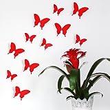 Wandkings 3D-10797 Schmetterlinge im 3D-Style, 12-Stück, Wanddekoration mit Klebepunkten zur Fixierung, rot