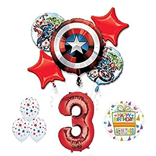 Mayflower Products The Ultimate Avengers Super Hero 3rd Birthday Party Supplies and Balloon Decorations